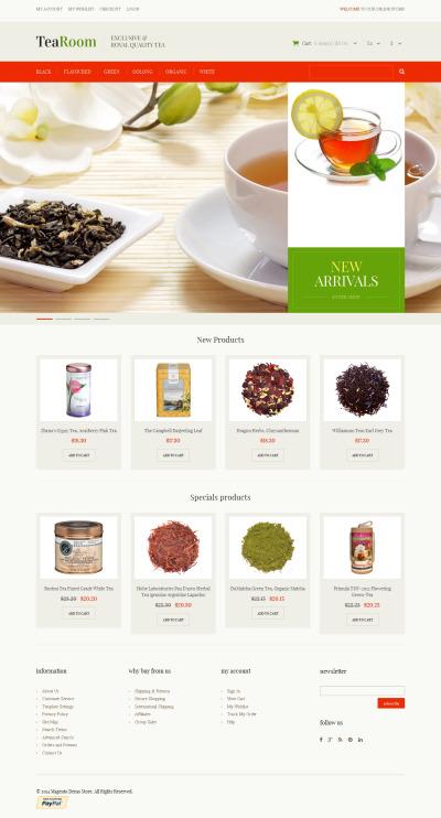 Responsives Magento Theme für Teeladen