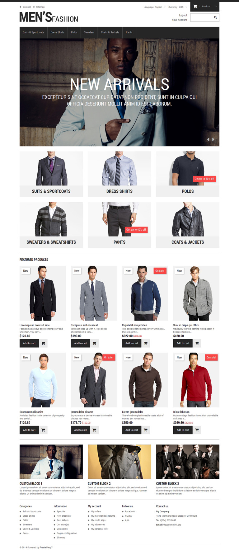 Menswear PrestaShop Theme New Screenshots BIG