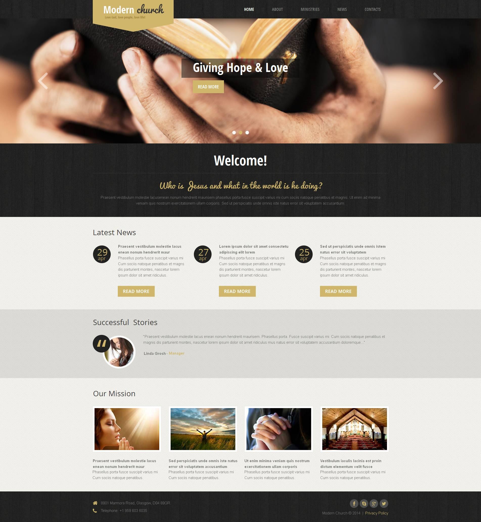 Modèle Moto CMS HTML Premium pour site religieux #48728