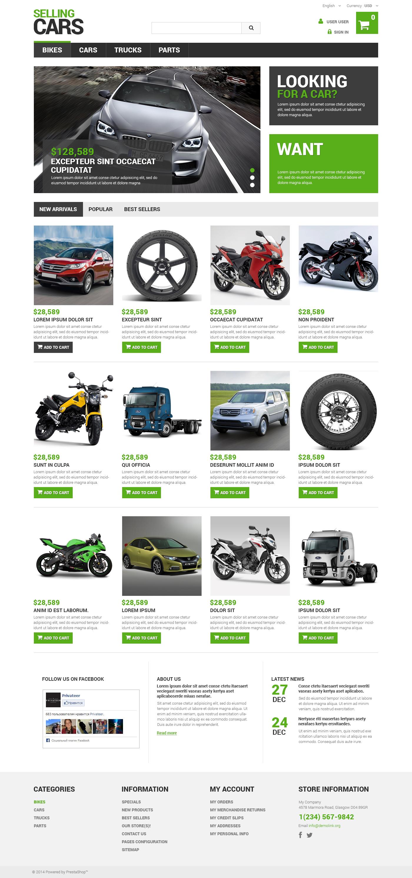 "Modello PrestaShop Responsive #48752 ""Selling Cars"""