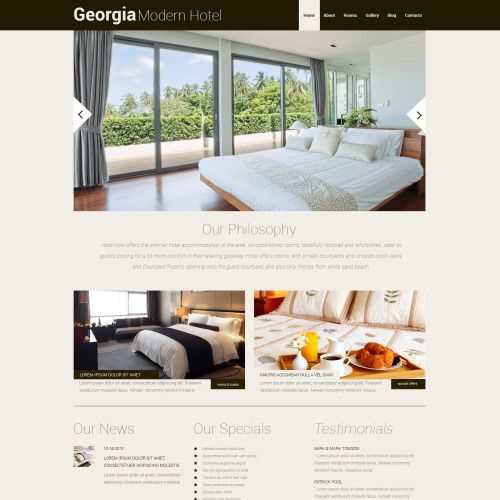 Georgia Modern Hotel - WordPress Template based on Bootstrap