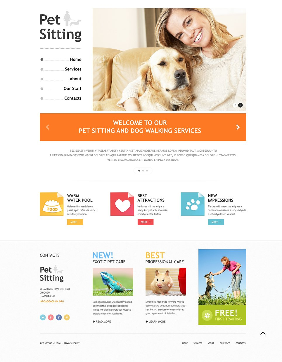pet sitting responsive website template 48701 With dog sitting website