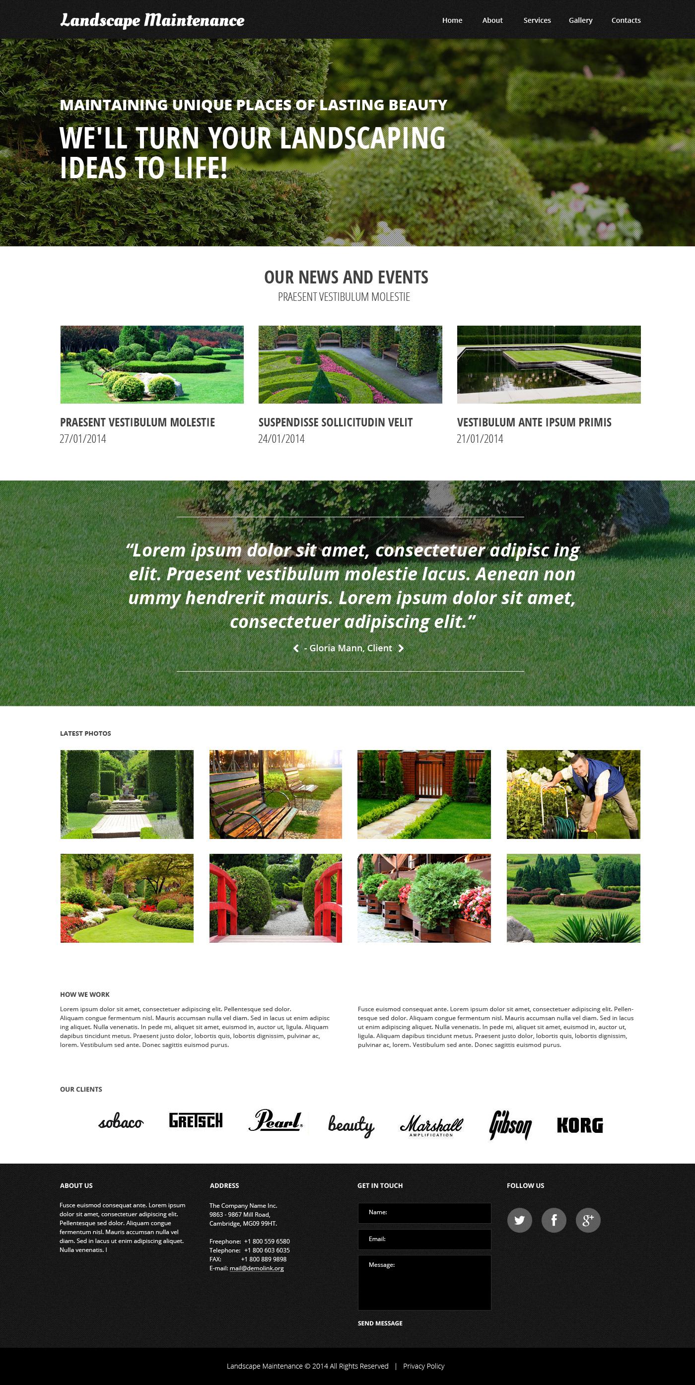 Plantilla Web Responsive para Sitio de Diseño de paisaje #48750