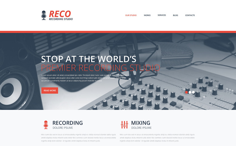 Recording Studio Responsive Website Template - Photo studio website template