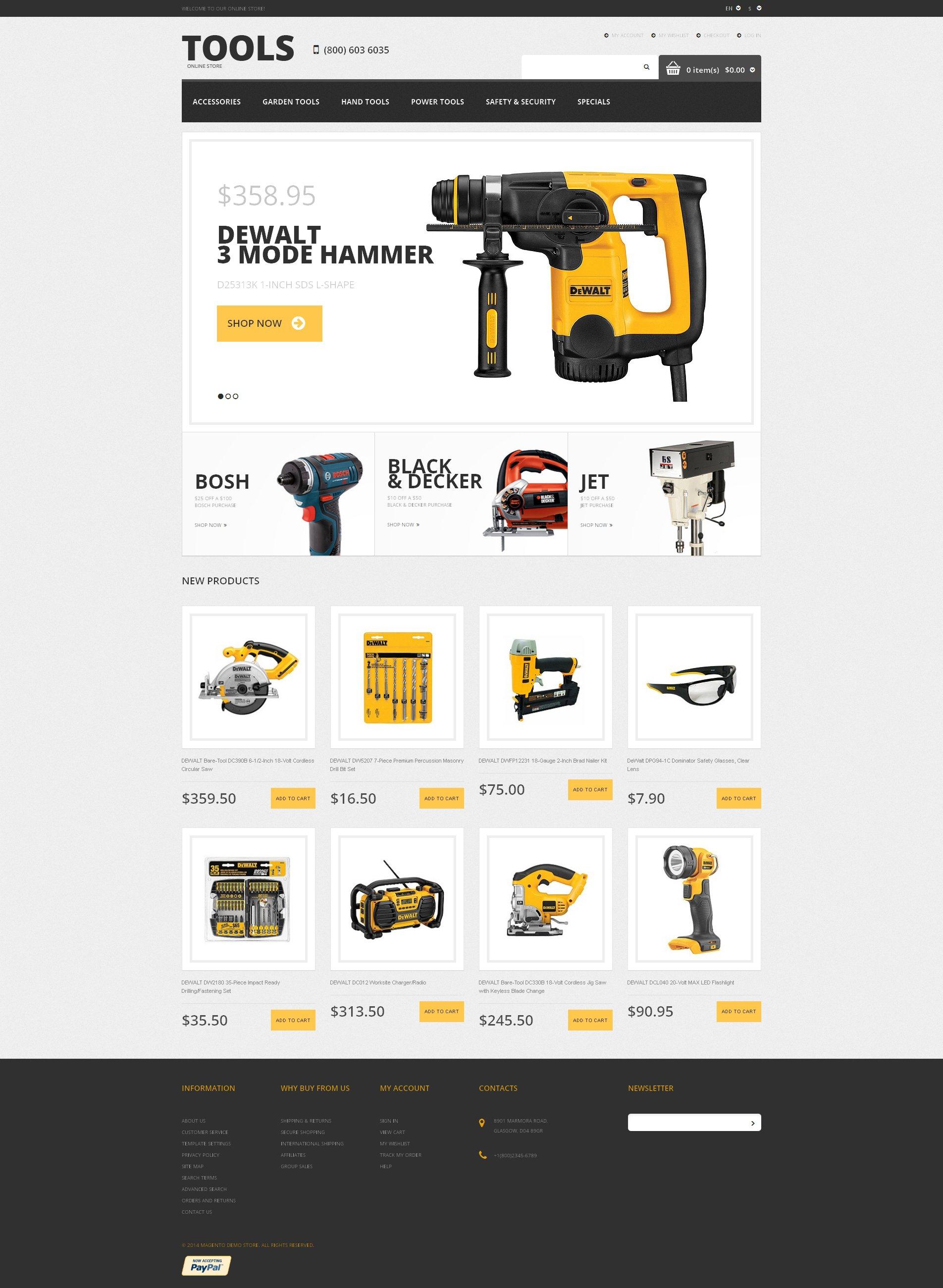 Responsives Magento Theme für Werkzeuge und Geräte #48759