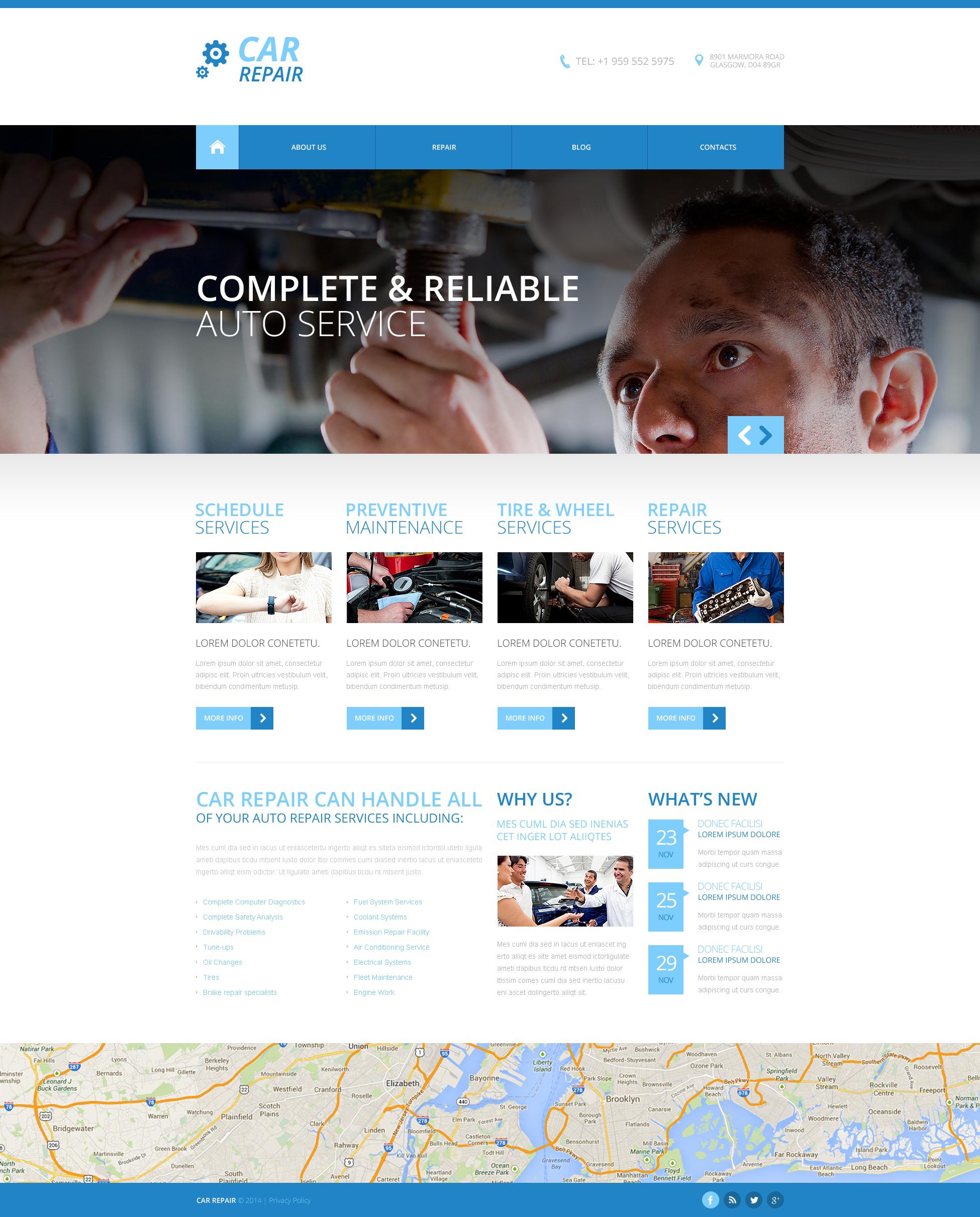 Responsywny szablon strony www #48731 na temat: naprawa samochodów - zrzut ekranu