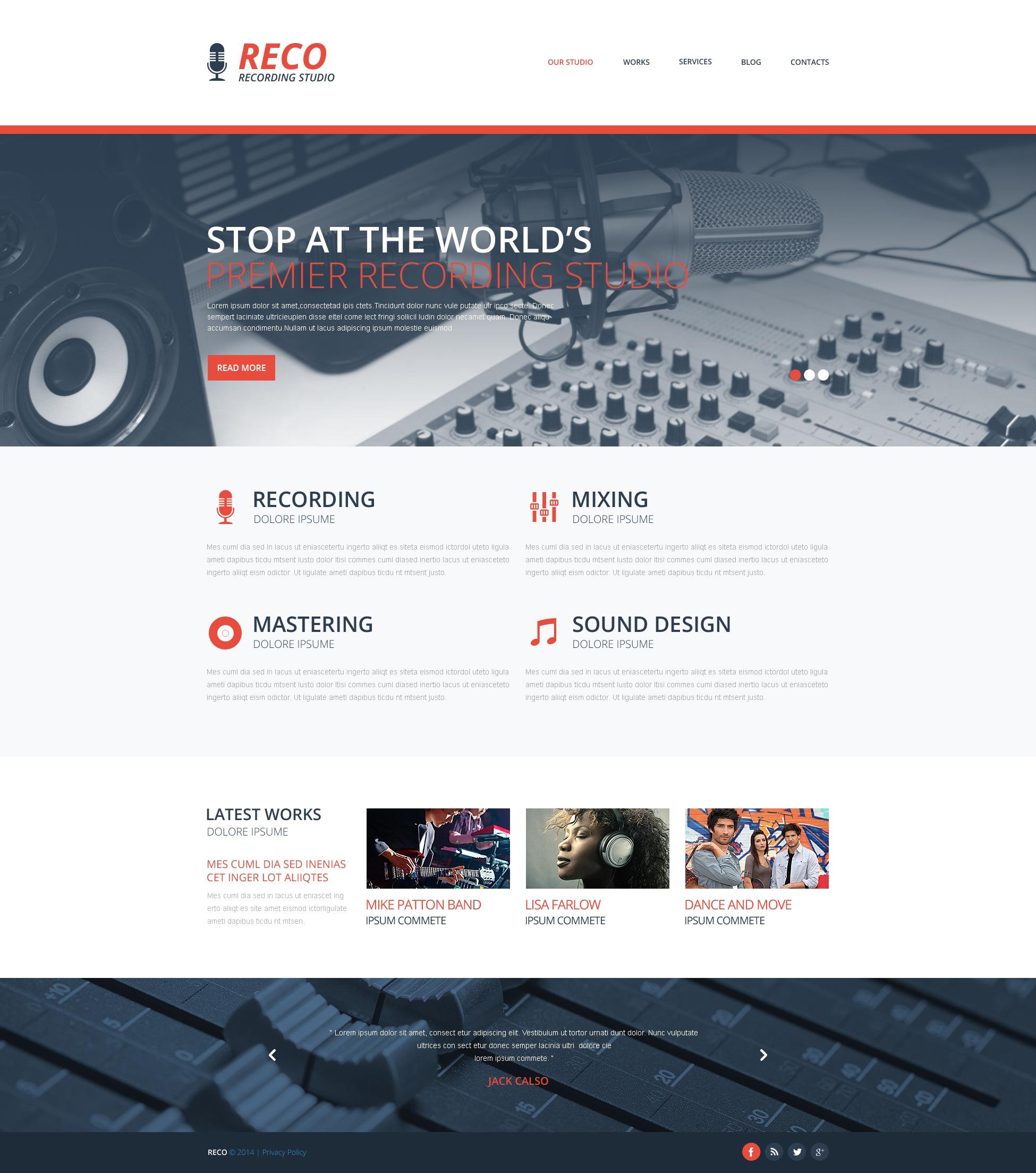 Reszponzív Hangstúdió témakörű Weboldal sablon 48733 - képernyőkép