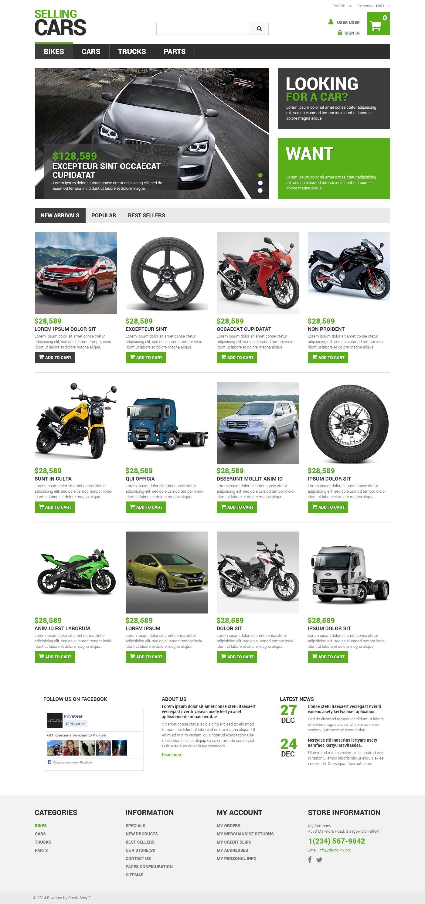 """Selling Cars"" - адаптивний PrestaShop шаблон №48752"