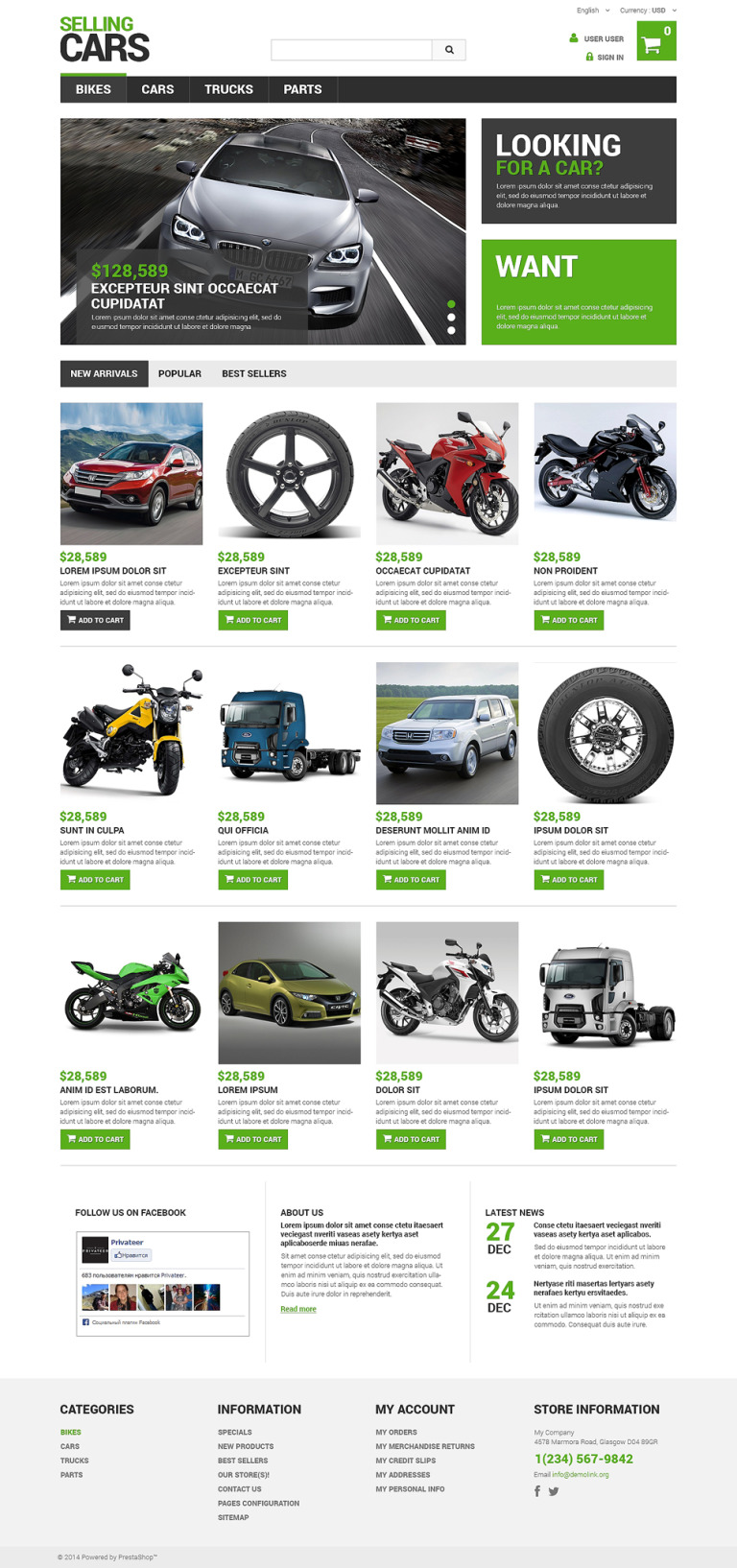 Selling Cars PrestaShop Theme New Screenshots BIG