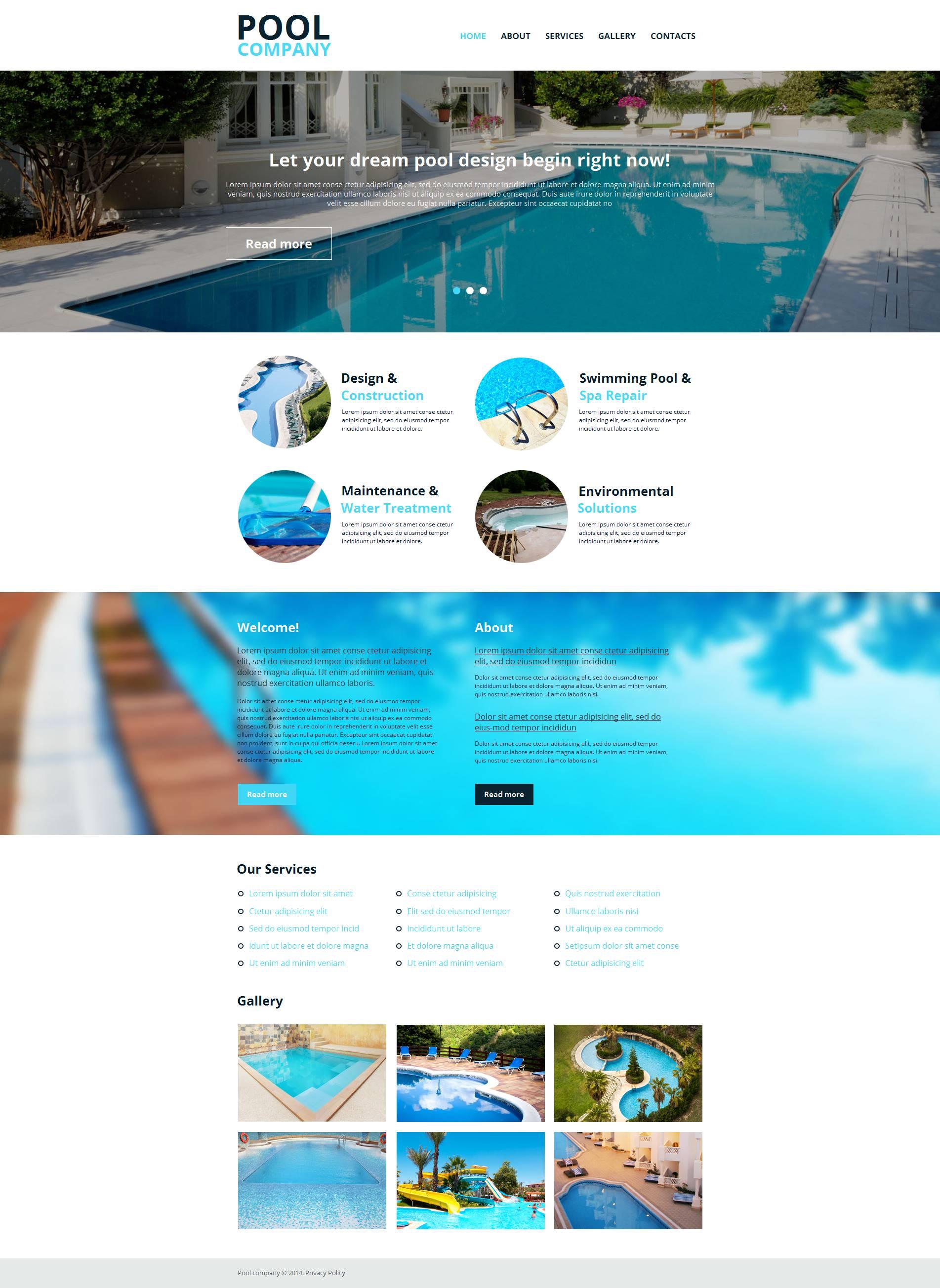 Swimming Pool Moto CMS HTML Template
