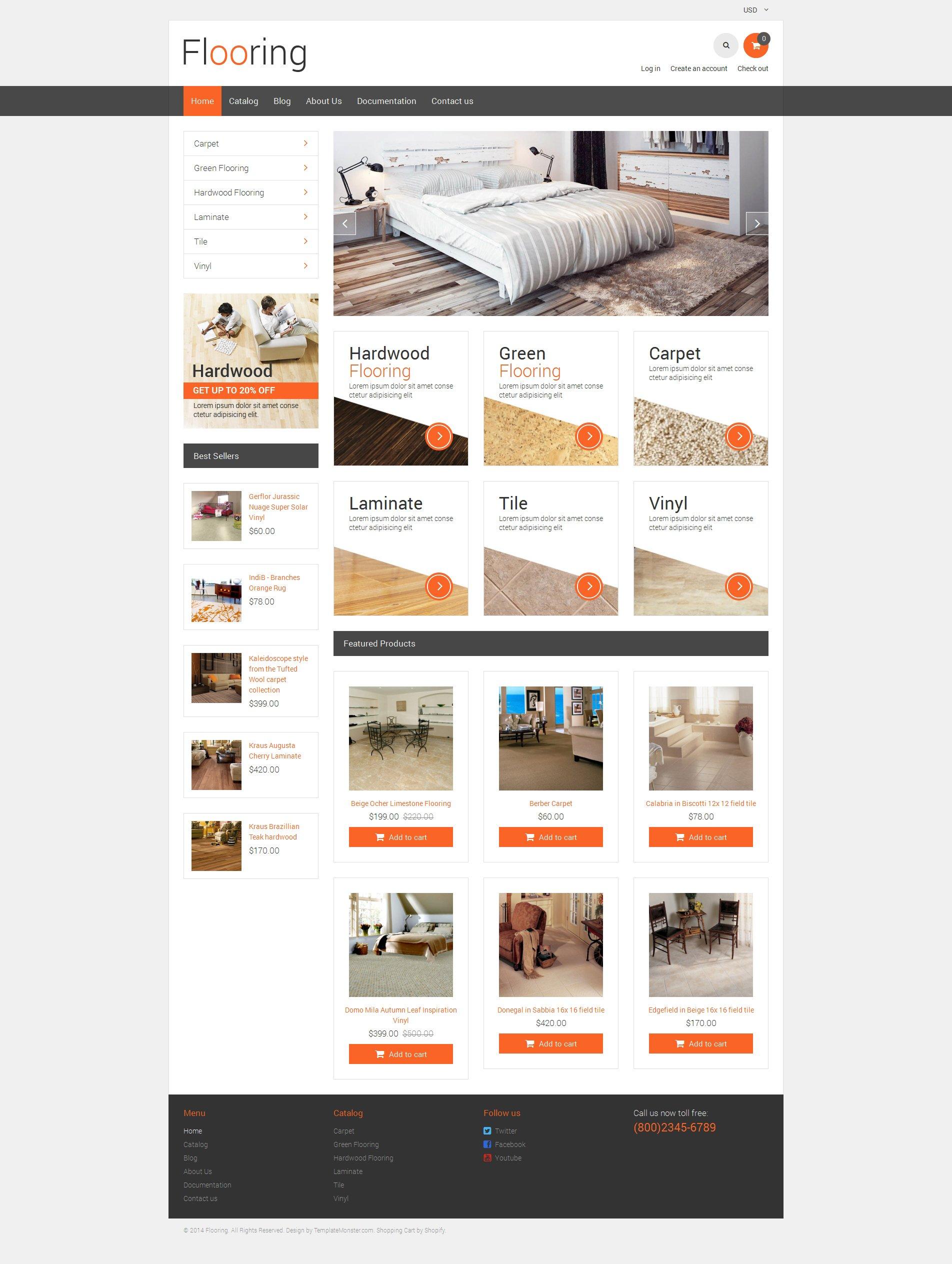 Tema de Shopify Flexível para Sites de Piso №48702