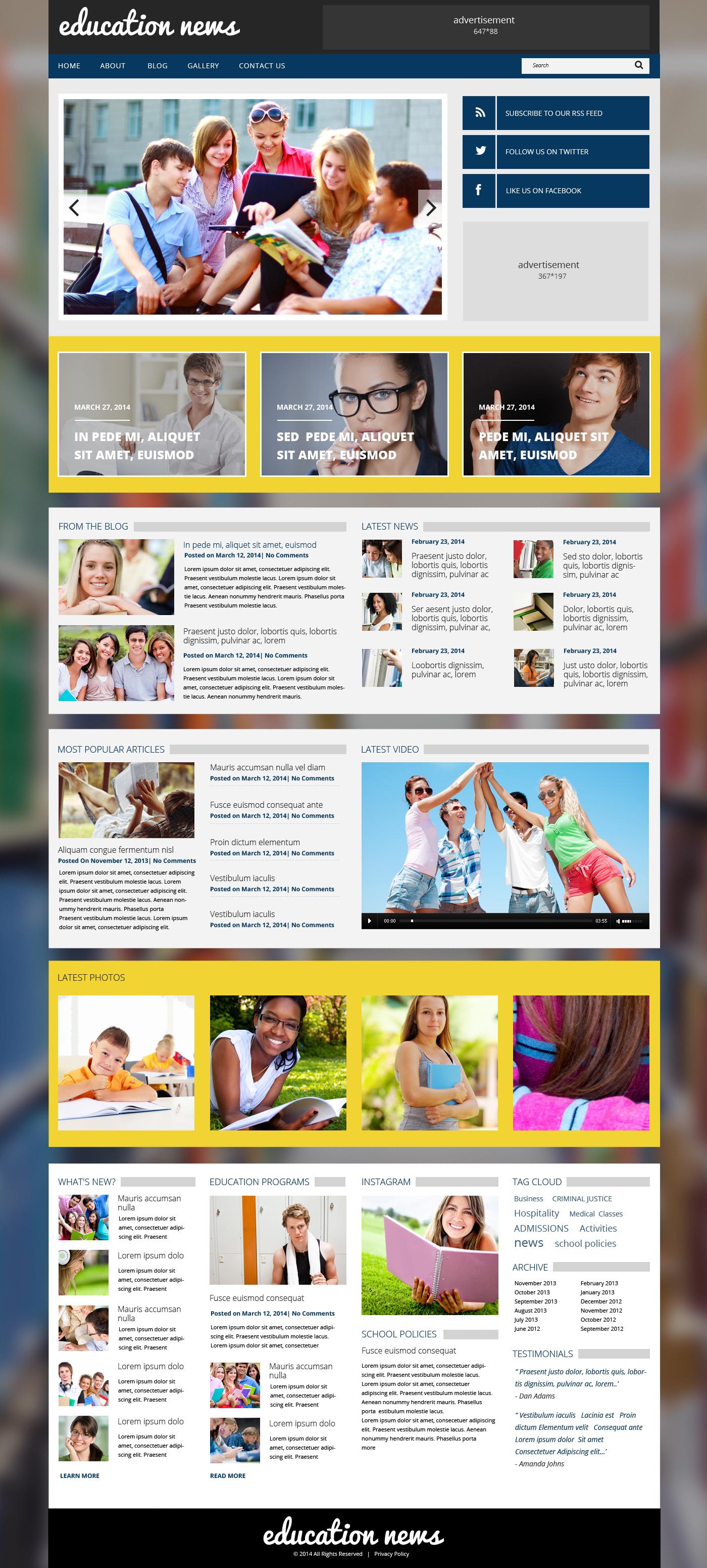 Tema WordPress Flexível para Sites de Educação №48709 - captura de tela