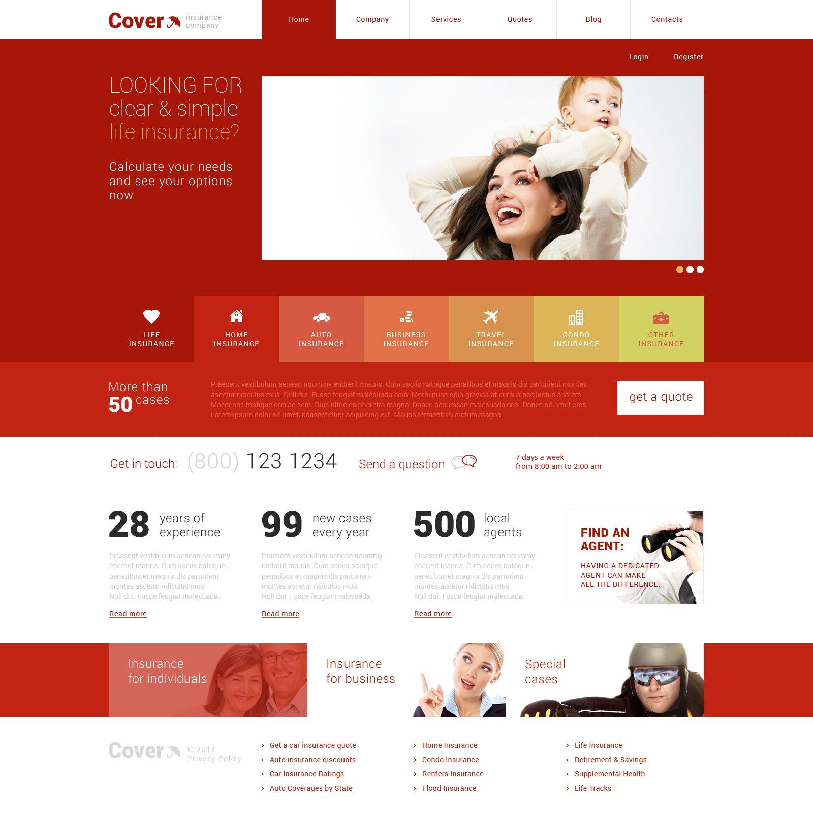 Thème WordPress adaptatif pour site de société d'assurance #48706