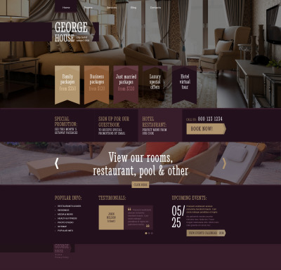 Thème WordPress adaptatif  pour site d'hôtel