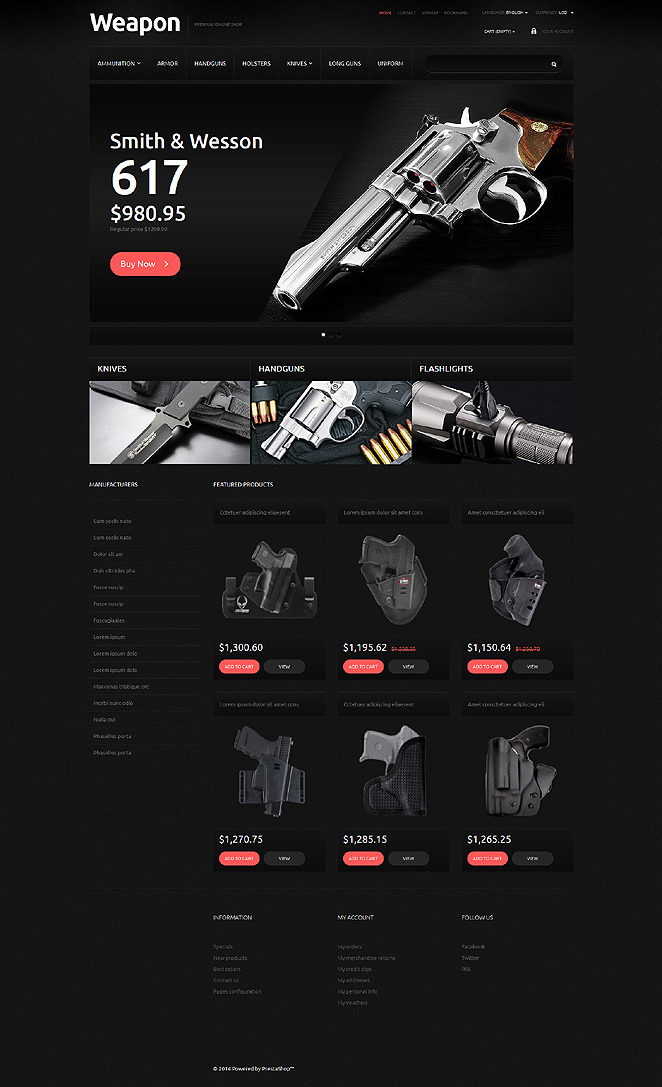 Weapons for SelfDefense PrestaShop Theme New Screenshots BIG