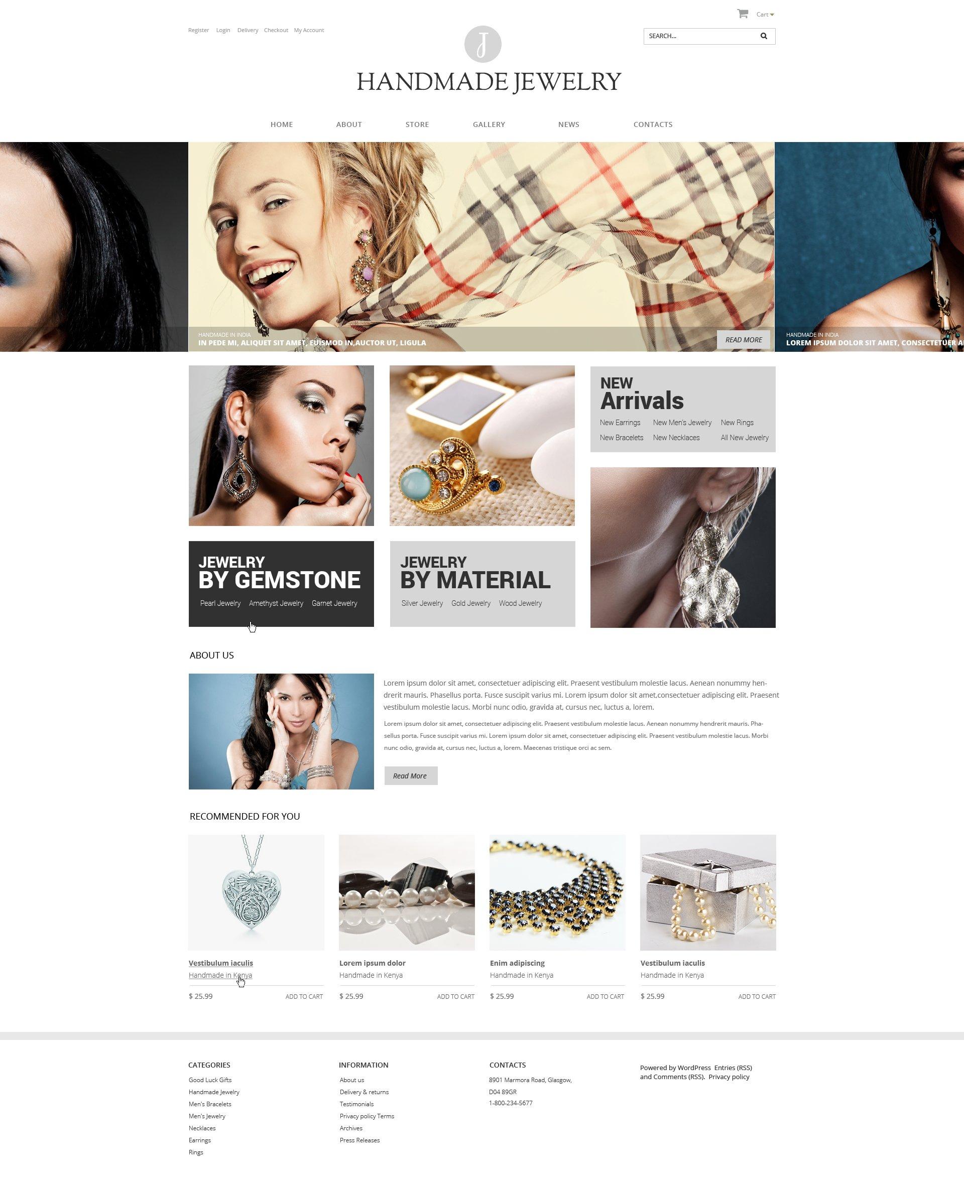 "WooCommerce Theme namens ""Handmade Jewelry"" #48793 - Screenshot"