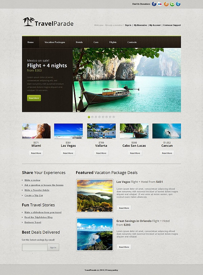 Travel Website Design with Wood Textured Menu Bar - image