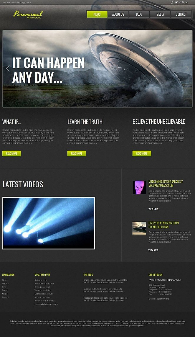 UFO Research Website Template - image