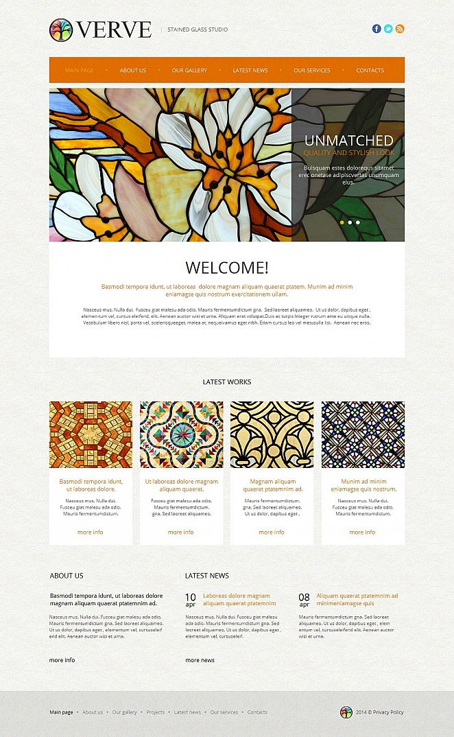 Stained Glass Art Studio Website Template - image