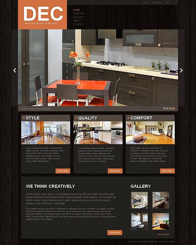 Interior Design Website Template with Dark Wood Texture - image
