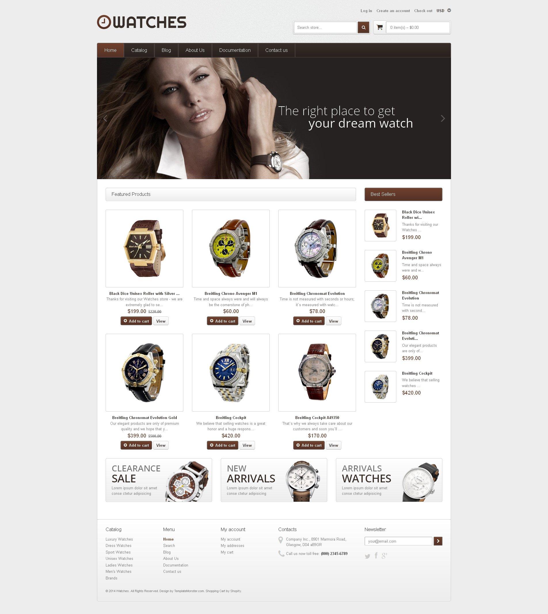 Адаптивний Shopify шаблон на тему годинники №48823 - скріншот