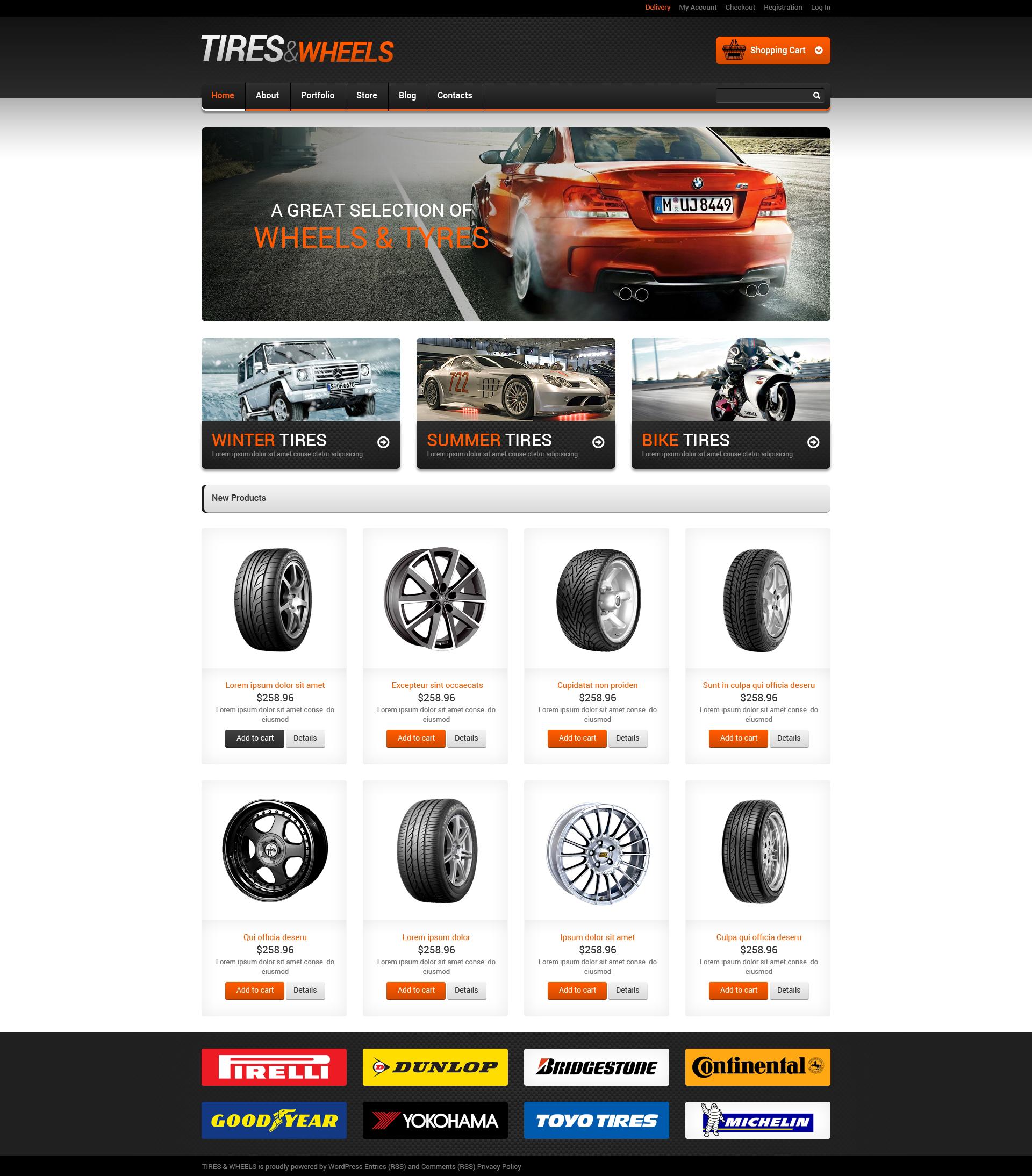 Адаптивний WooCommerce шаблон на тему колеса та шини №48891