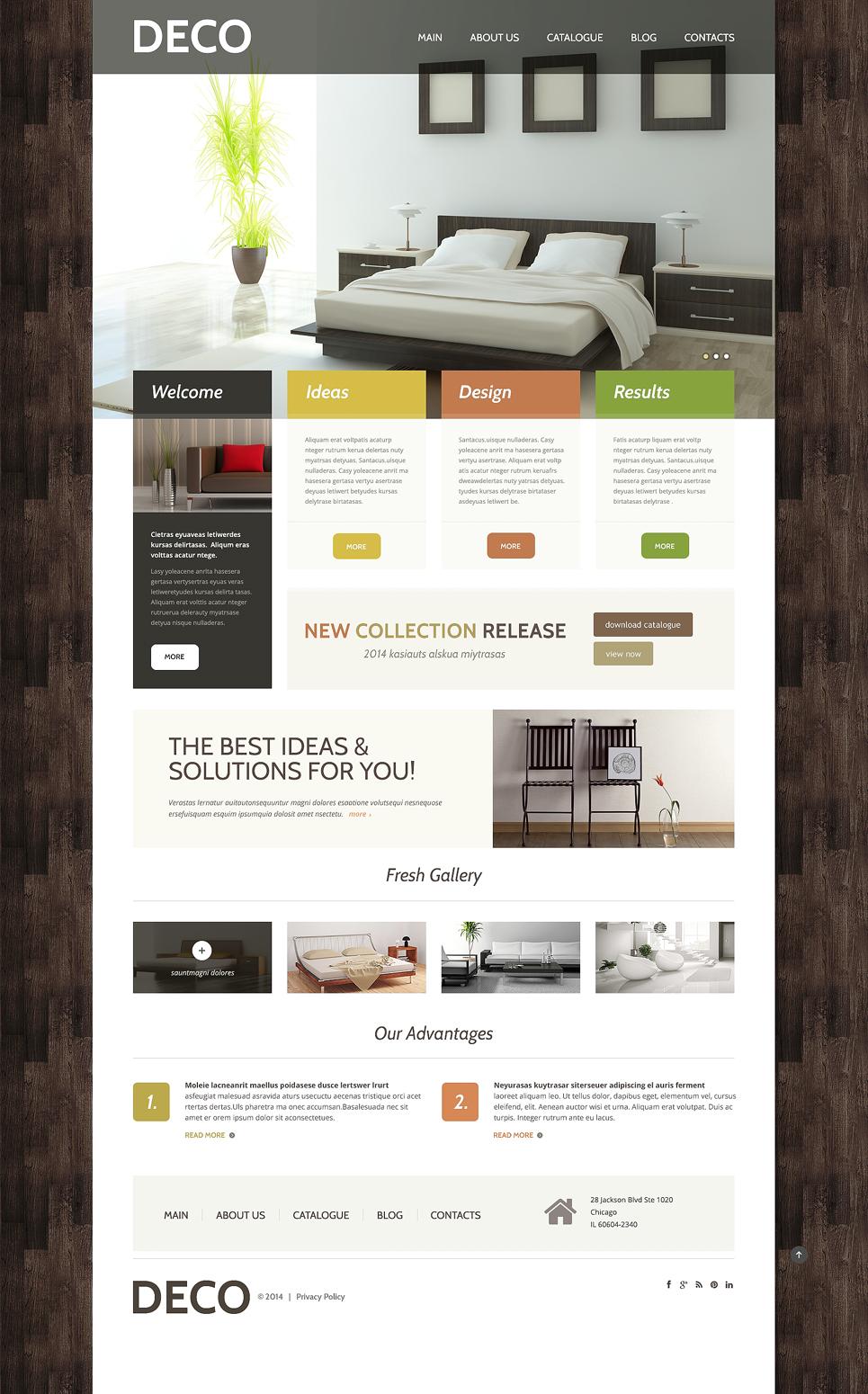 Адаптивный шаблон сайта на тему дизайн интерьеров #48830