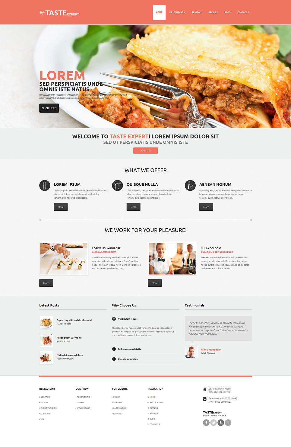 Адаптивный шаблон сайта на тему кафе и ресторан #48840
