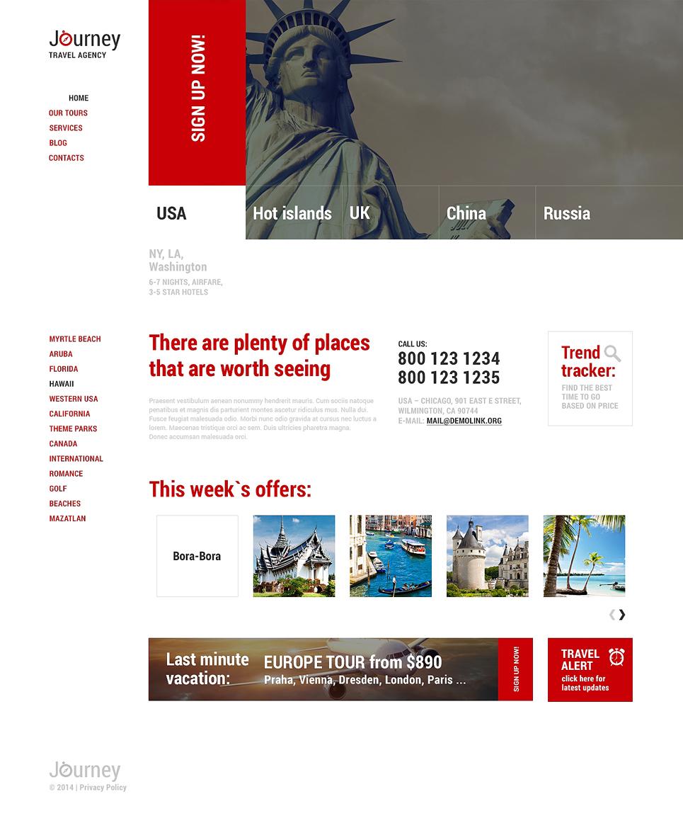 Адаптивный шаблон сайта на тему агентство путешествий #48842