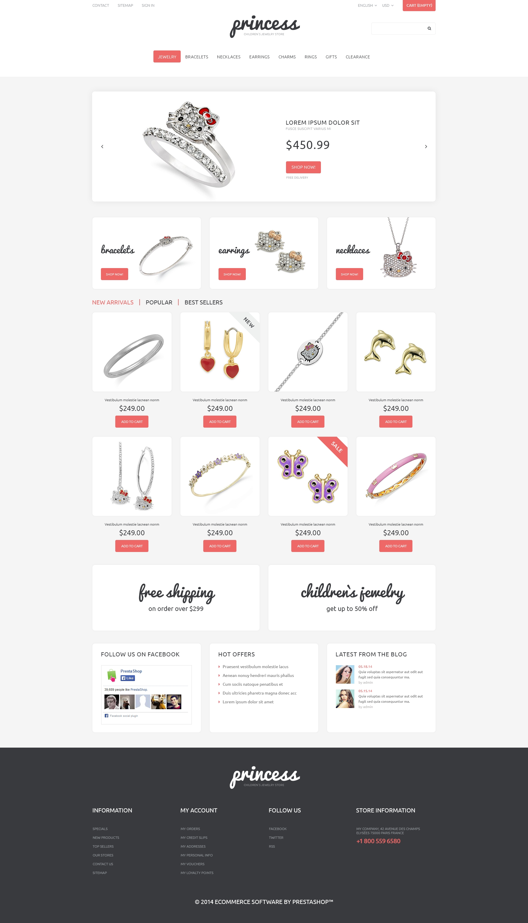 Children\'s Jewelry PrestaShop Theme #48881