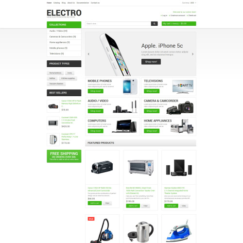 Electro - Shopify Template based on Bootstrap