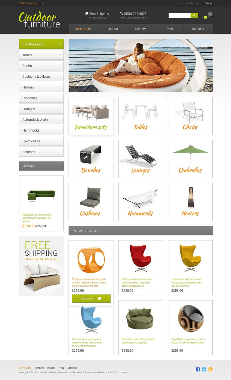 Furniture VirtueMart Template New Screenshots BIG