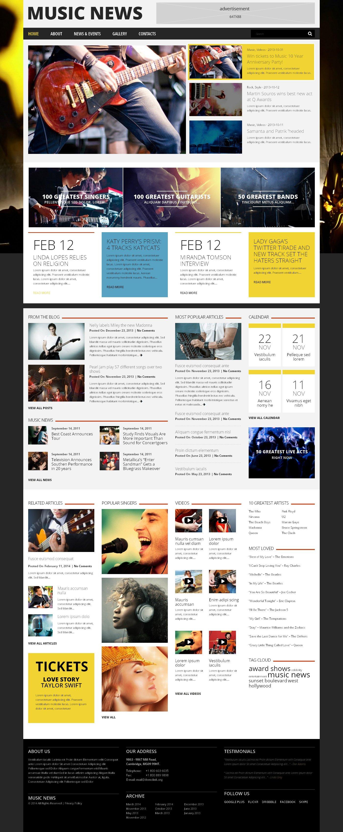 """""""Music Fan Board"""" 响应式WordPress模板 #48844 - 截图"""