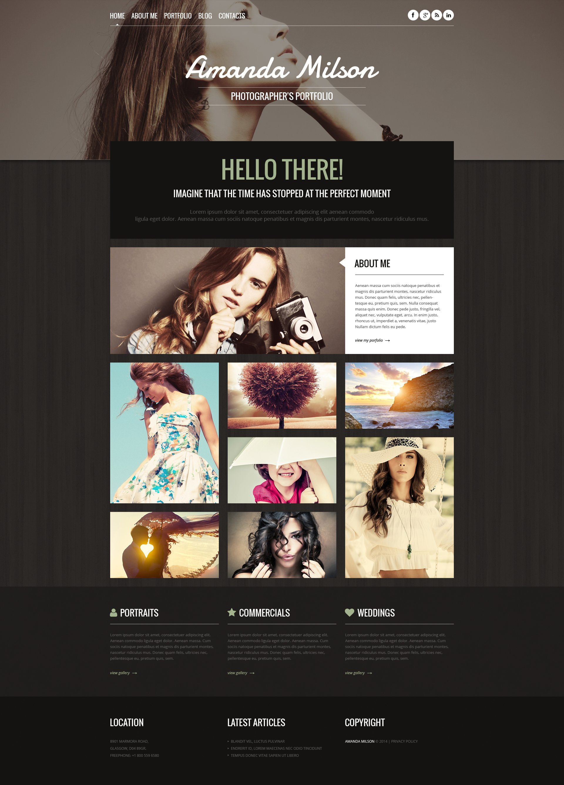 Photographer Portfolio Responsive WordPress Theme - screenshot