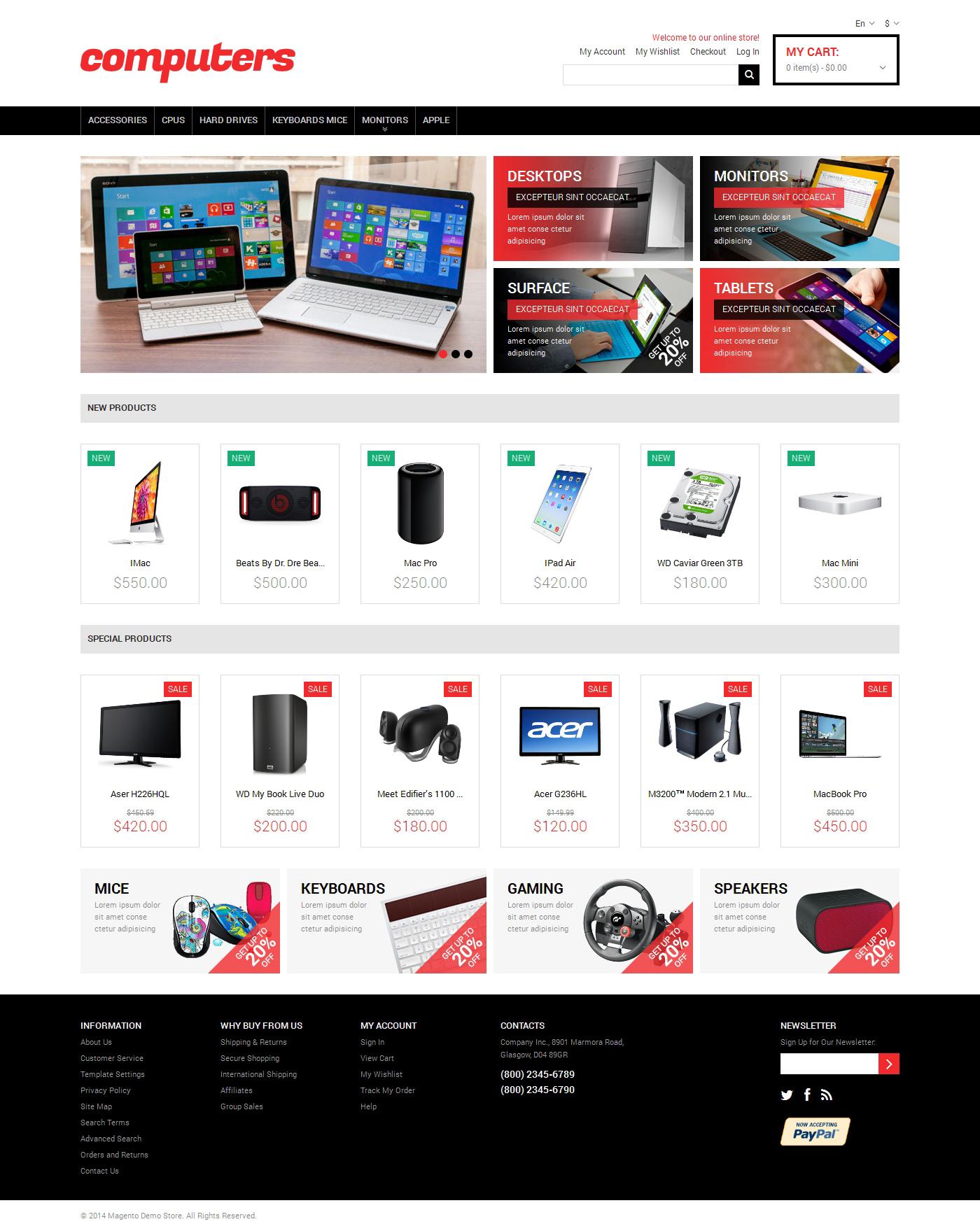 Responsive Bilgisayar Mağazası Magento #48819