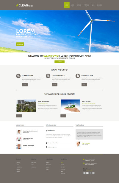 Wind Energy Responsive WordPress Motiv