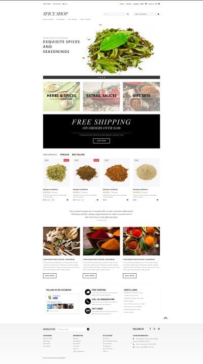 Spice Shop Responsive PrestaShop шаблон