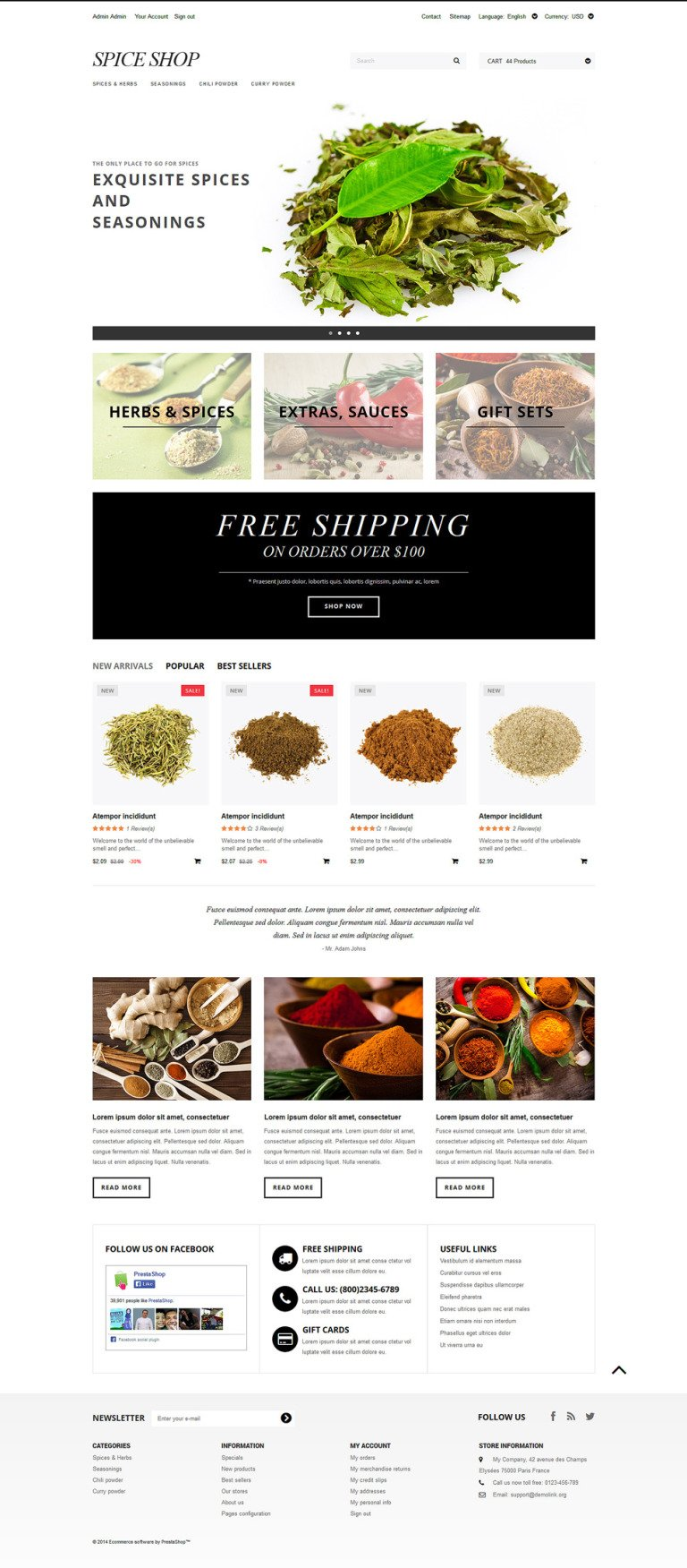 Spices and Seasonings PrestaShop Theme New Screenshots BIG