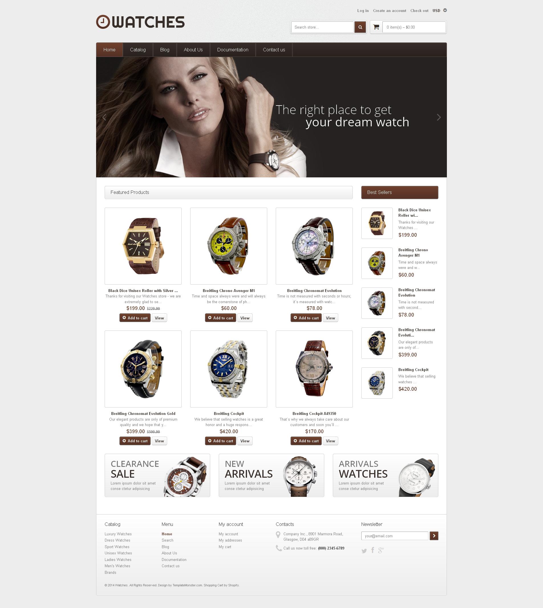 Tema de Shopify Flexível para Sites de Relógios №48823 - captura de tela