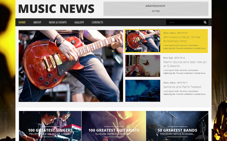 Tema de WordPress #48844 para Sitio de Portal de Música