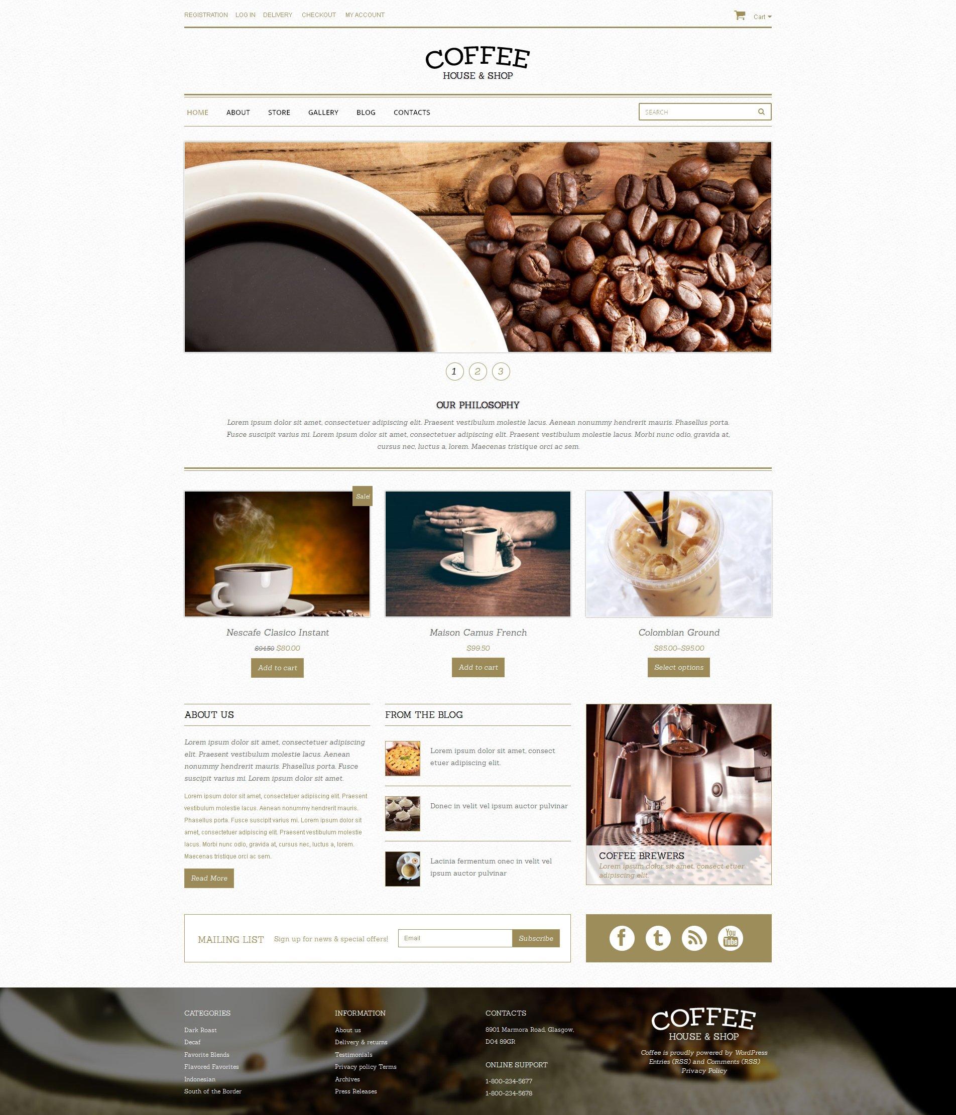 Tema WooCommerce Flexível para Sites de Para Loja de Café №48893