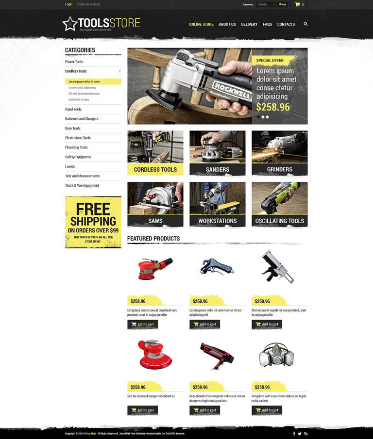 Tools Shop VirtueMart Template New Screenshots BIG
