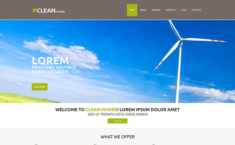Wind Energy Template WordPress Theme
