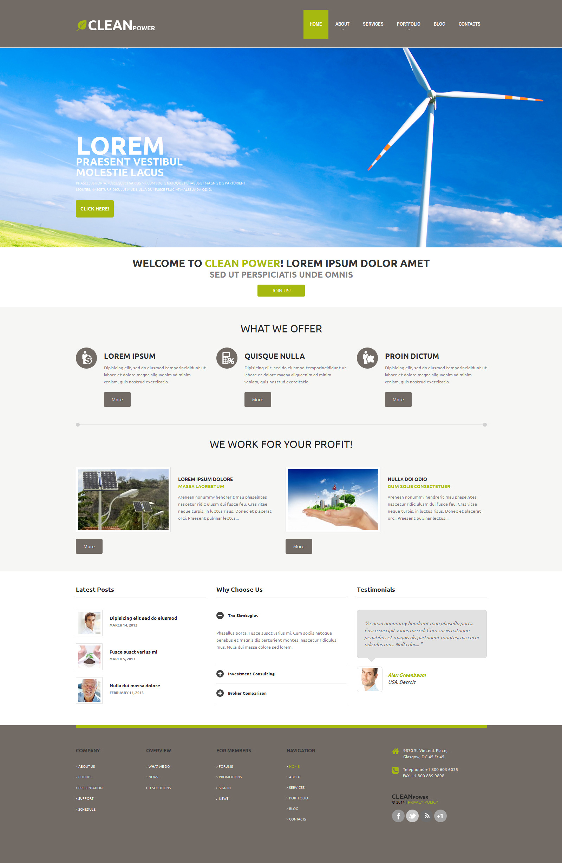 """Wind Energy Template"" 响应式WordPress模板 #48839 - 截图"