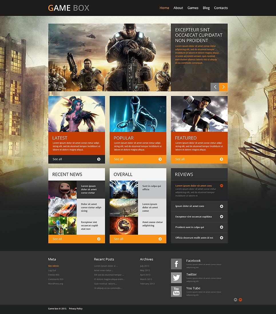 Шаблон сайта на тему игровой портал #48834