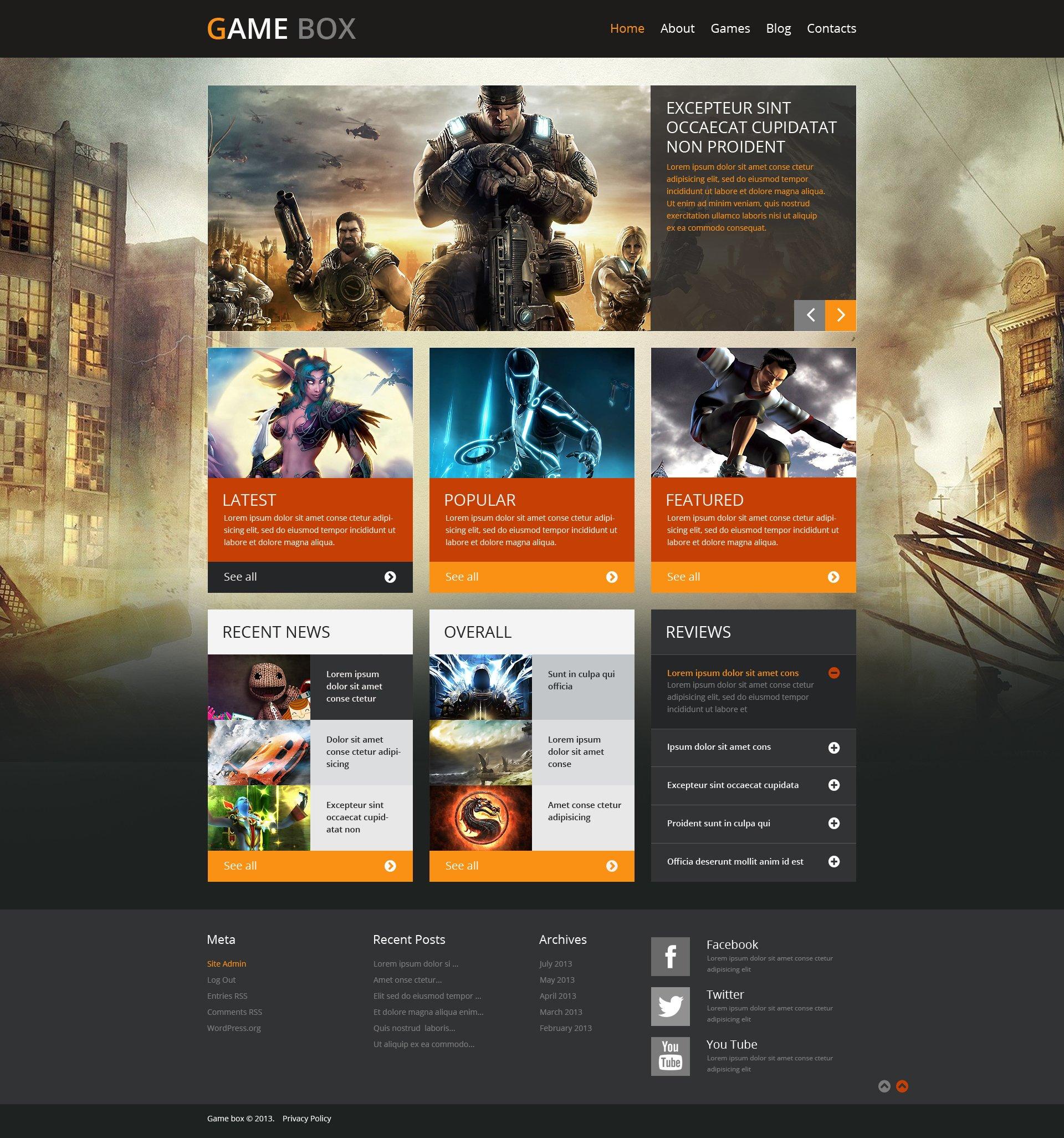 WordPress Theme für Spieleportal- #48834