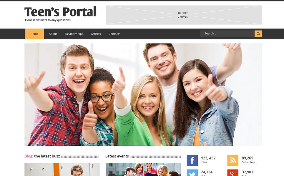 Template Siti Web Responsive #48910 per Un Sito di Teen Club New Screenshots BIG