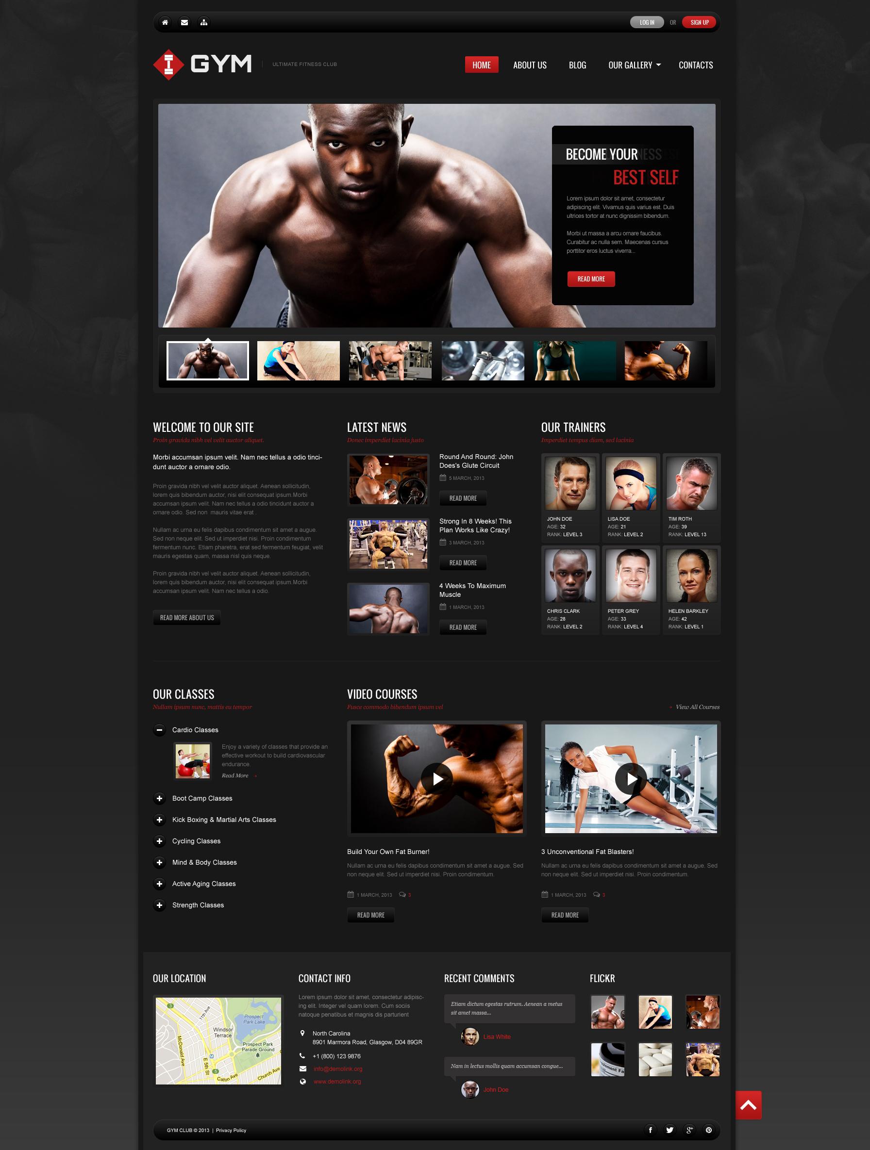 Адаптивний Joomla шаблон на тему bodybuilding templates №48965 - скріншот