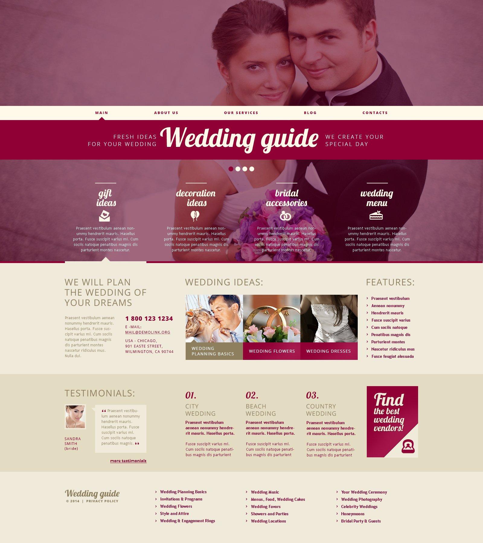 Адаптивний WordPress шаблон на тему організатор весілля №48921