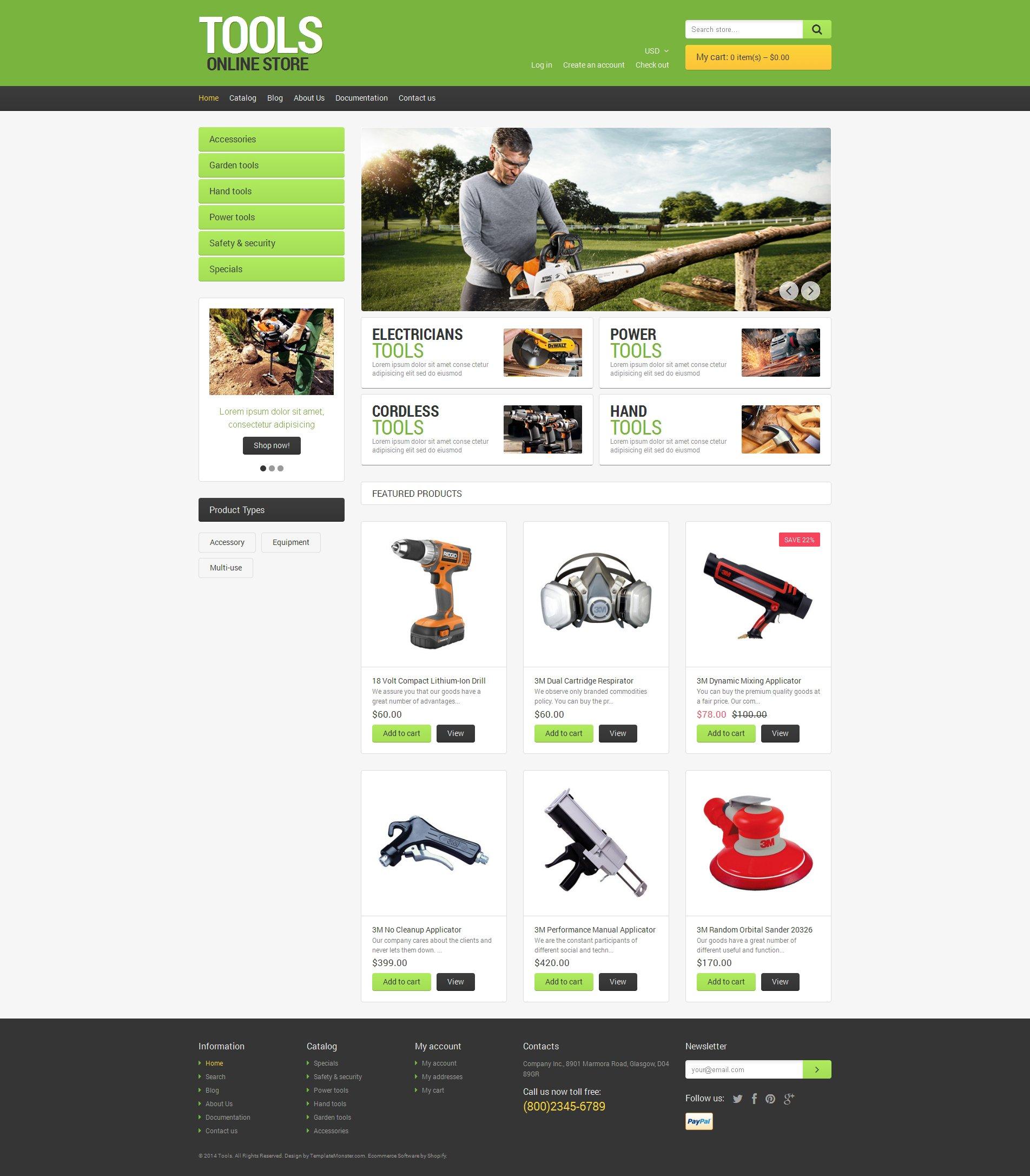 Адаптивный Shopify шаблон №48983 на тему инструменты и оборудование